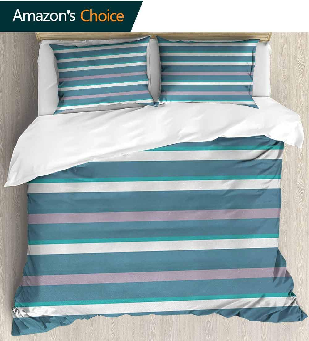 carmaxs-home Striped Bedding Bedspread,Turquoise Dark Teal Stripes Thick and Thin Lines with Aqua Colors Pattern Art Print Kids Bedding - Double Brushed Microfiber (87'' W x 102'' L) Teal White