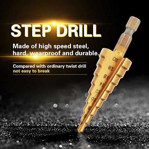 ステップドリルビット、1個の高速度鋼ステップコーンドリルビット穴カッター六角シャンクチタンメッキドリル、耐摩耗性と耐久性(4-20mm)