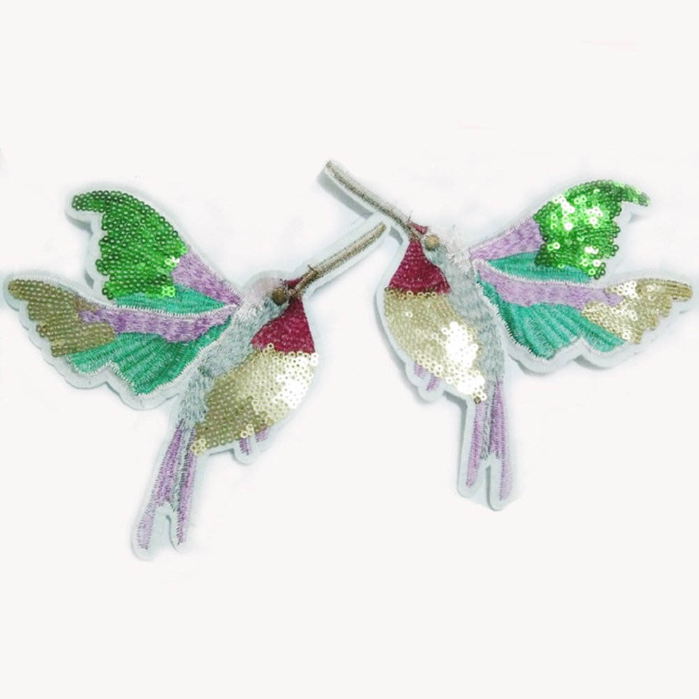 Lymocha 1 Pair Embroidered Applique Clothes Patches Delicate Sequin Birds Shape Iron on Sew on Cloth Paste Badges DIY Clothes Bag Decorative Accessories