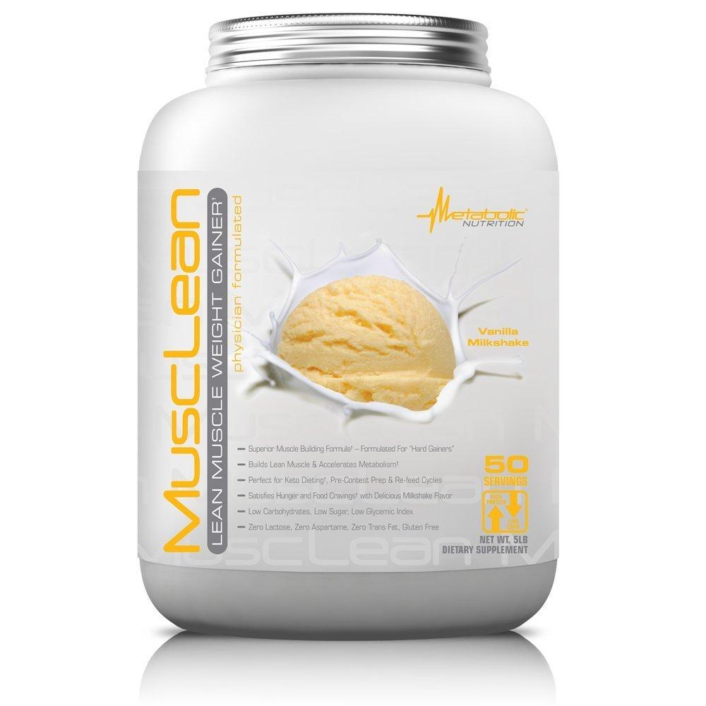 Metabolic Nutrition Musclean Milkshake Weight Gainer, Vanilla, 5 Pound