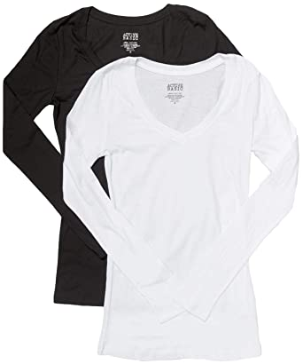 c16f5a287 Active Basic Women s Plain Basic Cotton Blend Deep V Neck T Shirt with Long  Sleeves 2