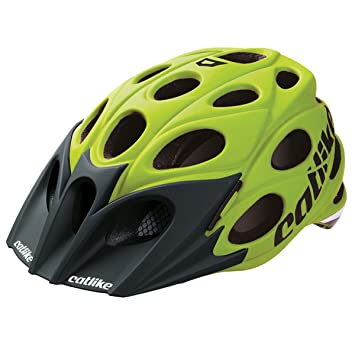 Catlike – Casco de ciclismo para bicicleta de hojas Amarillo con visor Negro – Medium