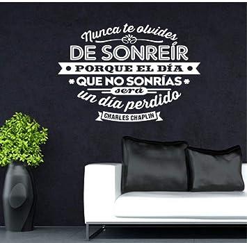 España Charles Chaplin cita vinilos adhesivos de pared arte mural póster sala de estar y dormitorio decoración del hogar decoración de la casa 55x70cm: Amazon.es: Bricolaje y herramientas