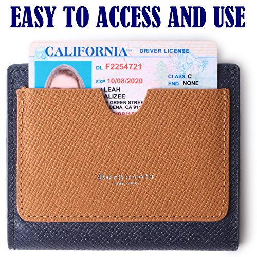 Borgasets Women's RFID Blocking Small Compact Bifold Leather Pocket Wallet Ladies Mini Purse with id Window Blue by Borgasets (Image #4)
