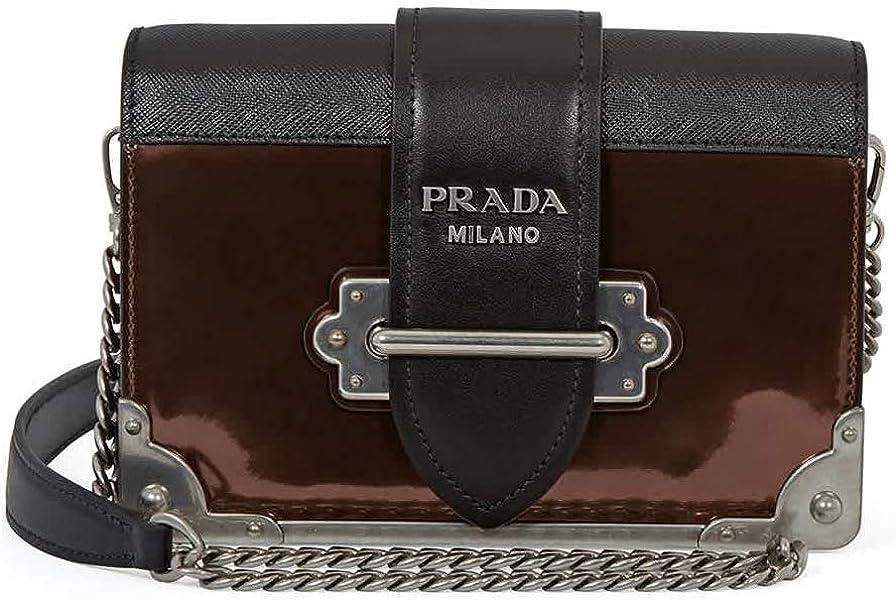 5085afc77721 Prada Cahier Leather Crossbody Bag- Black Brown  Handbags  Amazon.com