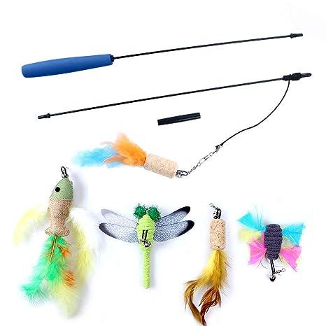 OWUDE Juguete pluma de gato, juguete retractable de la varita 5 cabeza de reemplazo y