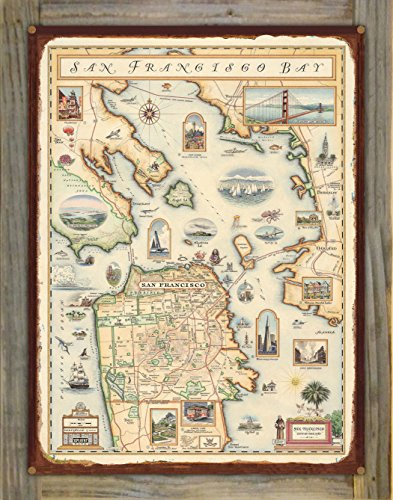San Francisco Hand-Drawn Rustic Metal Map on Reclaimed Barn Wood by Xplorer Maps (18