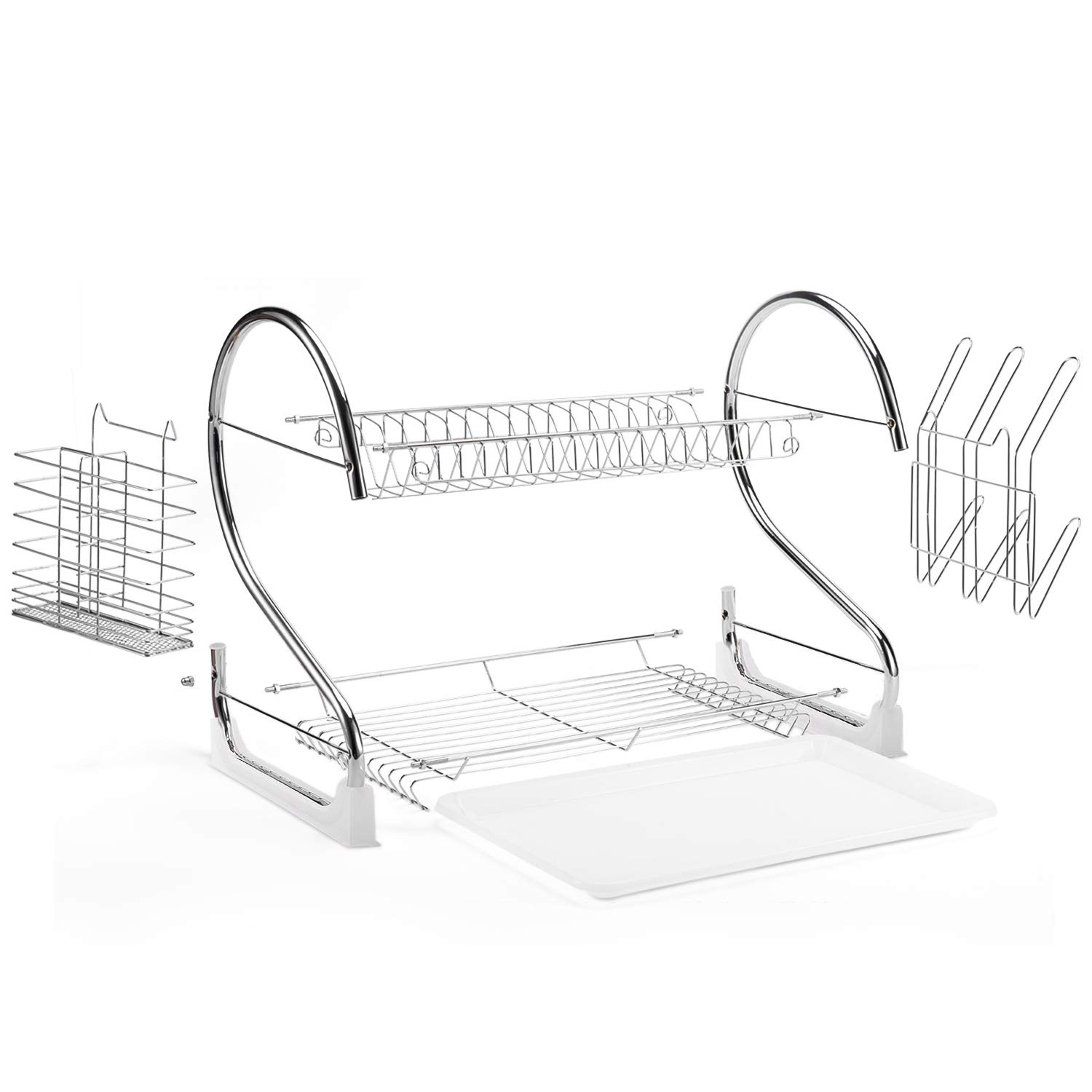 Glotoch 2 Tier Dish Drying Rack,2020 Upgrades Double Rust-Proof Treatment Dish Rack with More Stable Footpad, Utensil Holder, Cup Holder and Dish Drainer for Kitchen Counter Top Silver 16.5 x 9.5 x 15