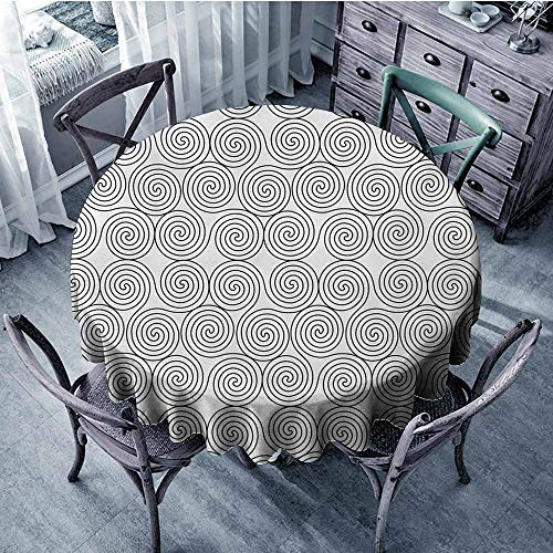 Celtic Premium Tablecloth Vintage Constant Triple Spiral Celtic Pattern with Rotational Symmetric Lines Boho Everyday Use D39 Inch Black White 1 Rotational Game Table