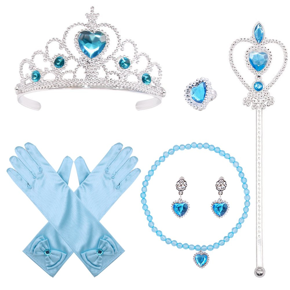 Princess Elsa Dress up, 6 Set Party Accessories Cosplay Accessories for Cosplay Queen Girls Best Birthday Gift, Blue Shindel