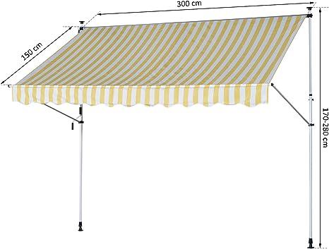 Outsunny - Toldo Enrollable con Postes de Soporte para Exterior, poliéster, Aluminio: Amazon.es: Jardín