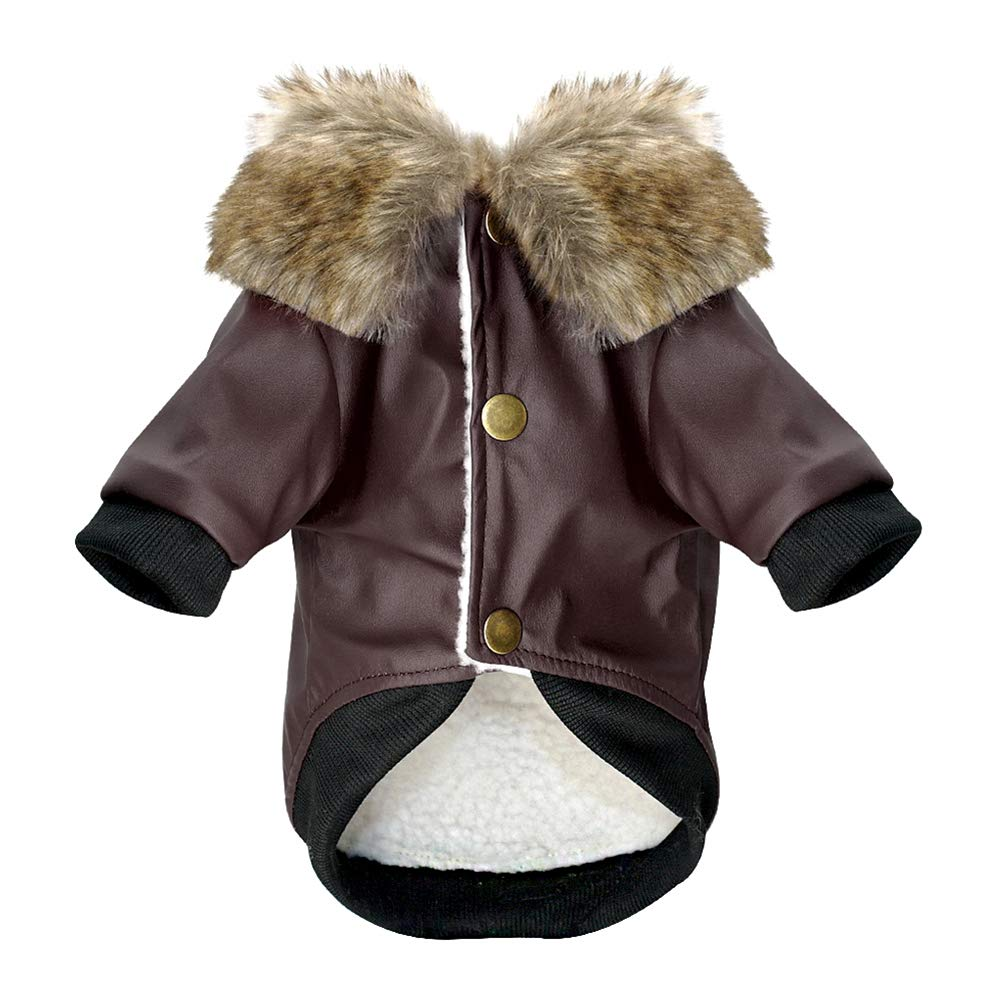 Waterproof Dog Leather Coat Fur Collar Clothes Winter Dog Jacket Coat Small Pets Pug French Bulldog Schnauzer Roupa cachorro Brown L by Kuntrona