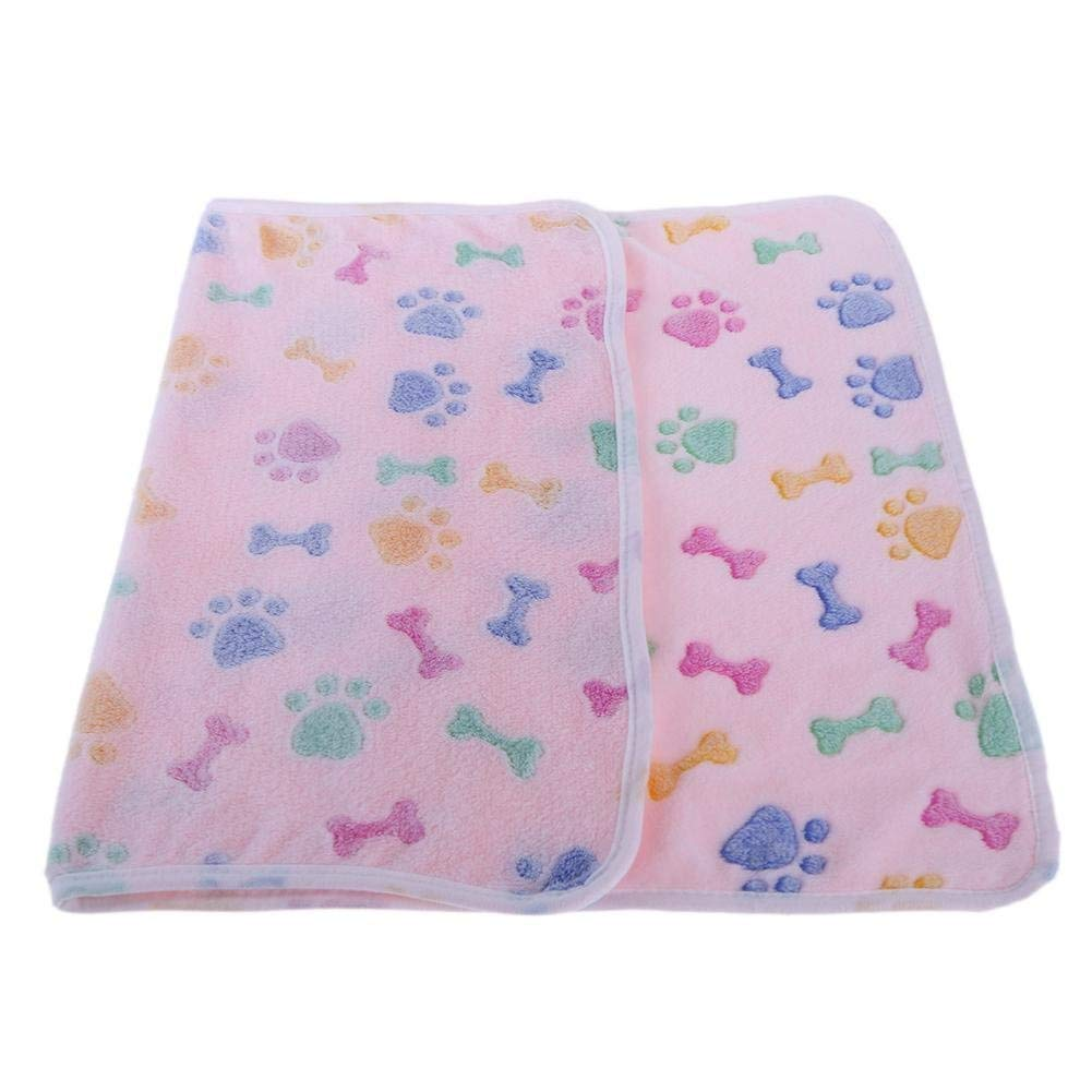 IANXI Home Warm Soft Coral Velvet Pet Blanket Sleep Mat Dog Bed Puppy Cushion(Pink L) for Cat Dog