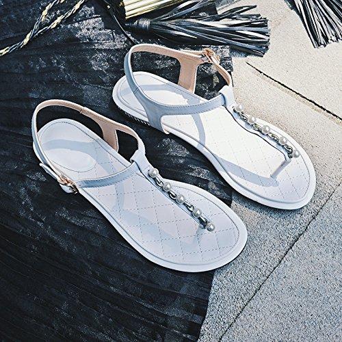 Des Sandales En Cuir, Summer Pearl Pincée Orteils, Faible Au Pied Des Chaussures Pour Femmes,White,Eu36Cn37