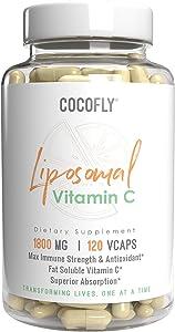 COCOFLY Premium Liposomal Vitamin C - 1800mg Immune System & Collagen Booster, Highest Dose & Absorption Fat Soluble VIT C, Anti Inflammatory, Anti Aging Skin Buffered Vitamins, Sunflower Lecithin