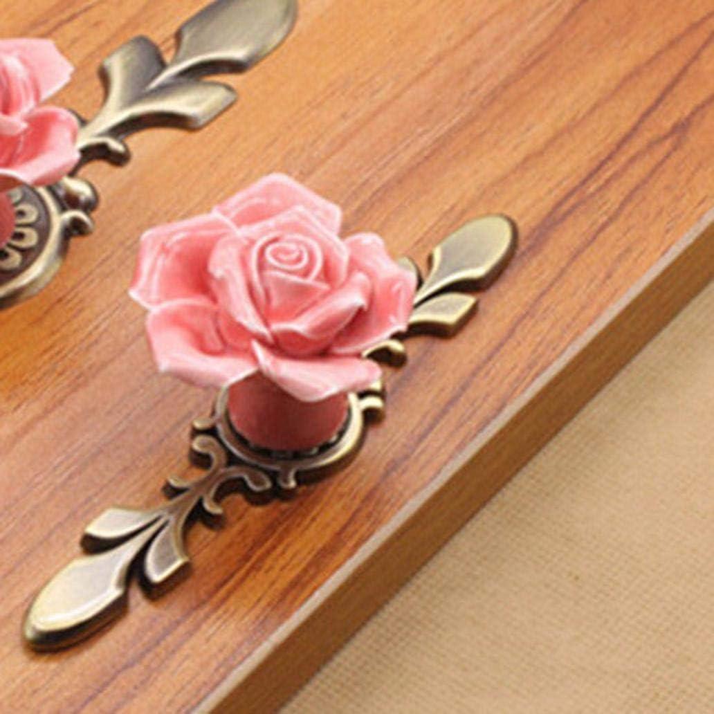 KaariFirefly Vintage Keramik Rose Schrank Kommode Knob Griff Schrank Schrank Schublade Pull Rose S