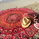 "Popular Round tapestry Indian Mandala Round Roundie Beach Throw Tapestry Wall Hanging Hippy Boho Gypsy Cotton Tablecloth, Round Yoga-Picnic sheet 70"" Red"