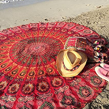Popular Round Tapestry Indian Mandala Round Roundie Beach Throw Tapestry  Wall Hanging Hippy Boho Gypsy Cotton