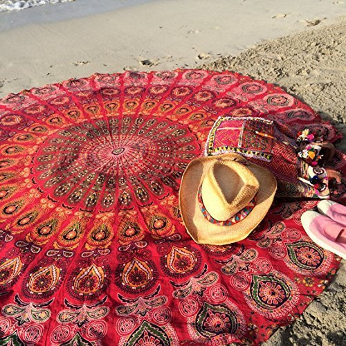 Popular Round tapestry Indian Mandala Round Roundie Beach Throw Tapestry Wall Hanging Hippy Boho Gypsy Cotton Tablecloth, Round Yoga-Picnic sheet 70'' Red