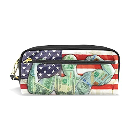 769028e723 Image Unavailable. Image not available for. Color  Pencil Case Pouch Storage  American Flag Bodybuilder Stationery Cosmetic Makeup Wristlets Bag Zipper
