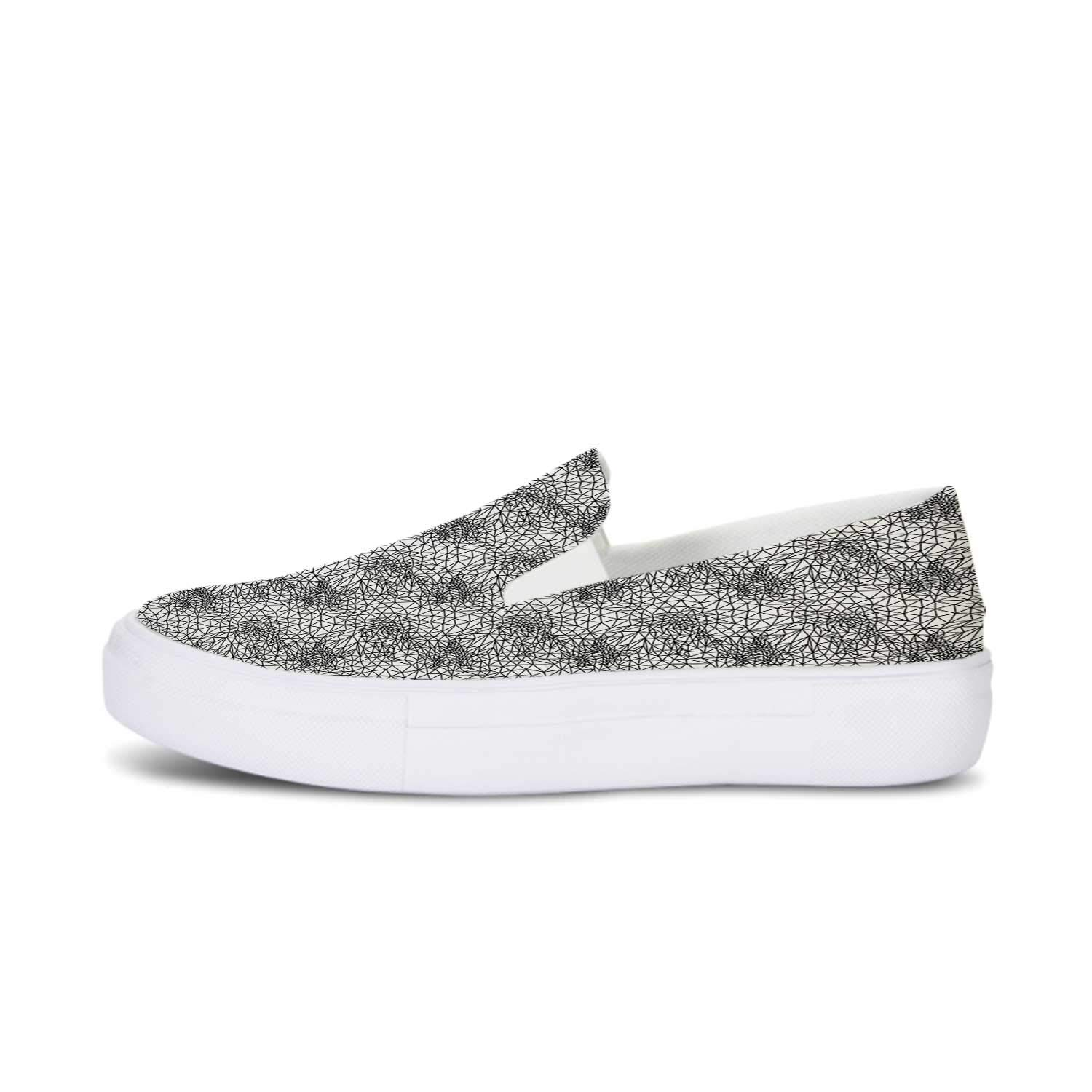 Abstract Canvas Slip On Shoes,Monochrome Triangle Pattern Polygonal Design Connected Stripes Ornate Line Art Decorative for Women,US 5