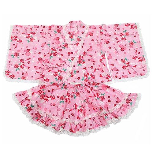 トランスミッション植木一月和風女の子着物の着物トップ+スカートパジャマセット#01