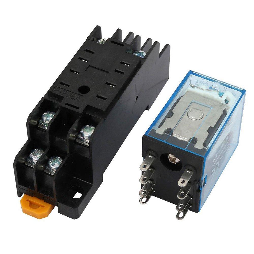 DC 12V Coil 8Pins Electromagnetic General Purpose Power Relay + Socket Base(2 PCS)