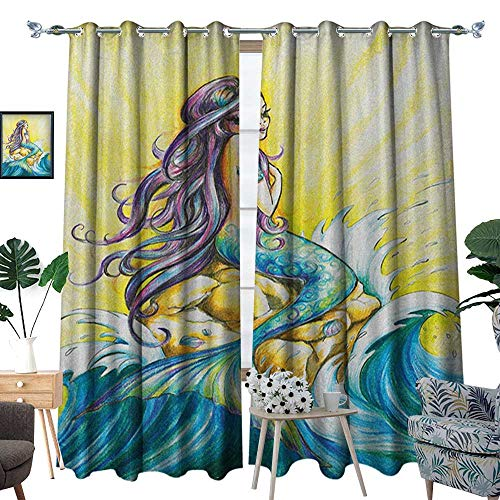 Patterned Drape for Glass Door Magical Mermaid Sitting on Rock Sunny Day Colored Pencil Drawing Effect Waterproof Window Curtain W72 x L96 Yellow Blue Purple ()