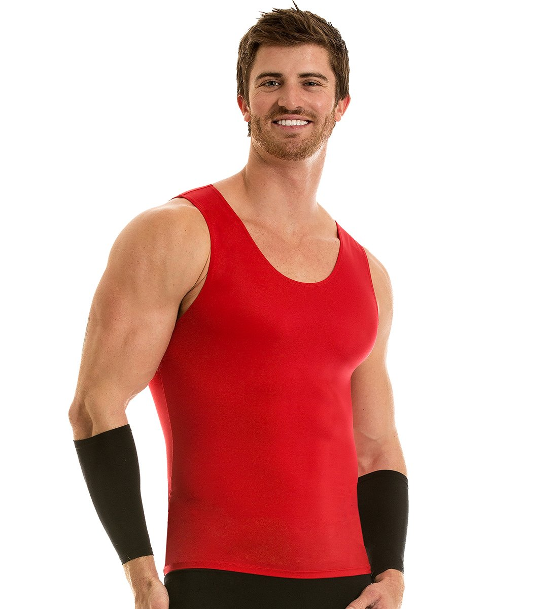 Insta Slim 3 Pack Muscle Tank, Look up to 5 inches Slimmer Instantly, Red, Medium, The Magic is in The Fabric! by Insta Slim (Image #3)