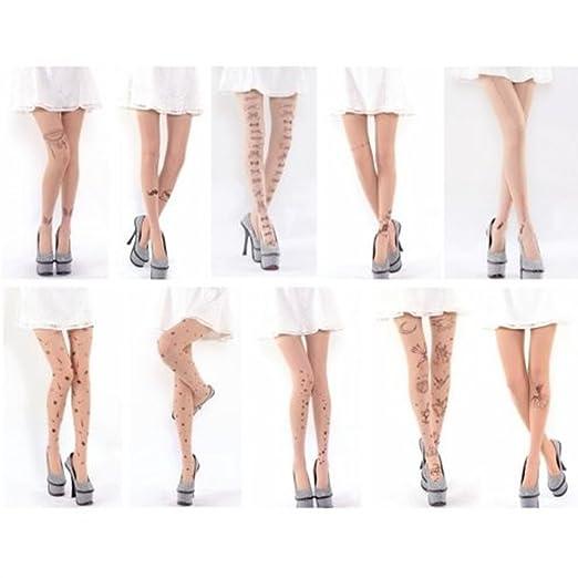 Para Mujer Sexy Fun dibujos tatuaje pantimedias mallas calcetín de ...