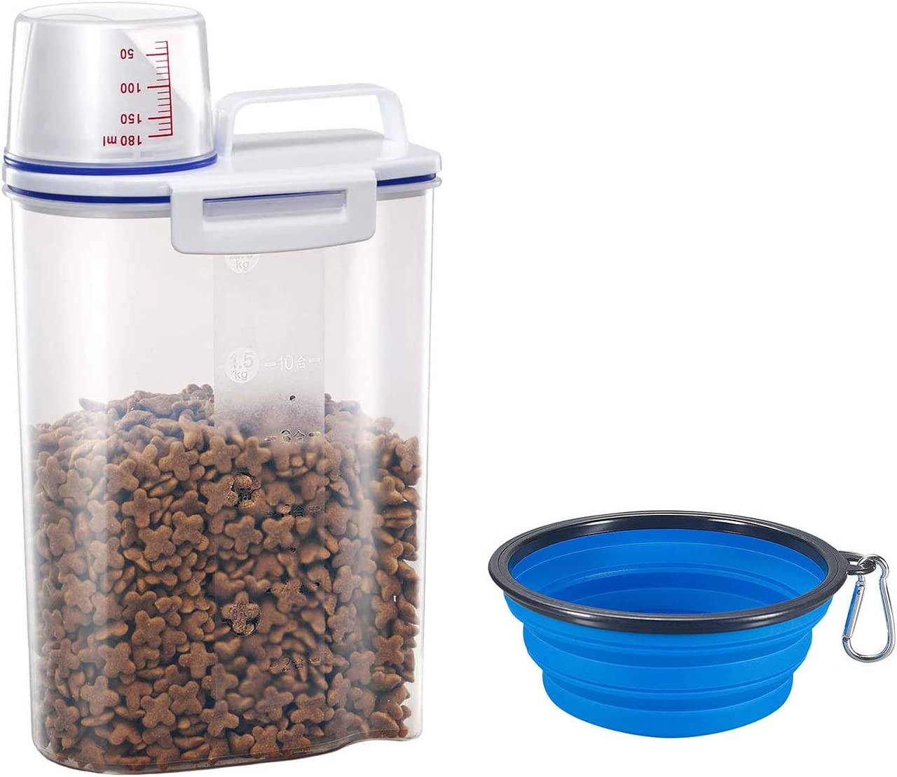 2 in 1 YRA Airtight Dog Food Storage Container with Portable Collapsible Bowl, Cat Food Container with Large Pour Spout, Pet Food Storage Containers with Measuring Cup, Food Dispenser for Regular Food