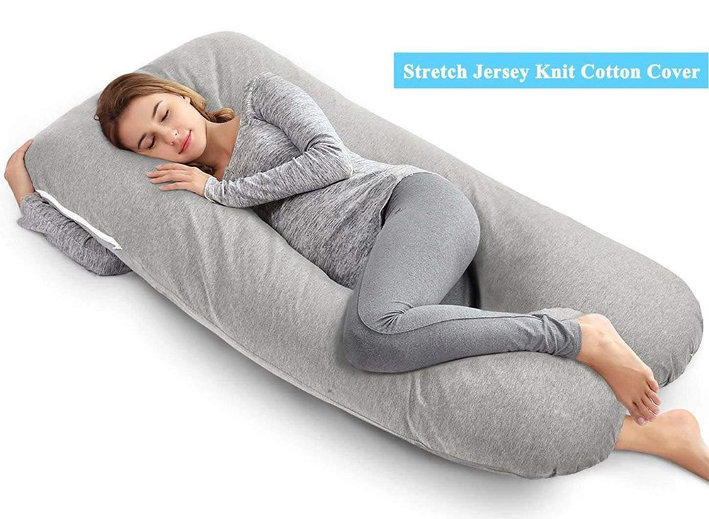 AngQi Unique U Shaped Full Pregnancy Body Pillow with Zipper Removable Velvet Cover, 60-inch, Gray Ang Qi