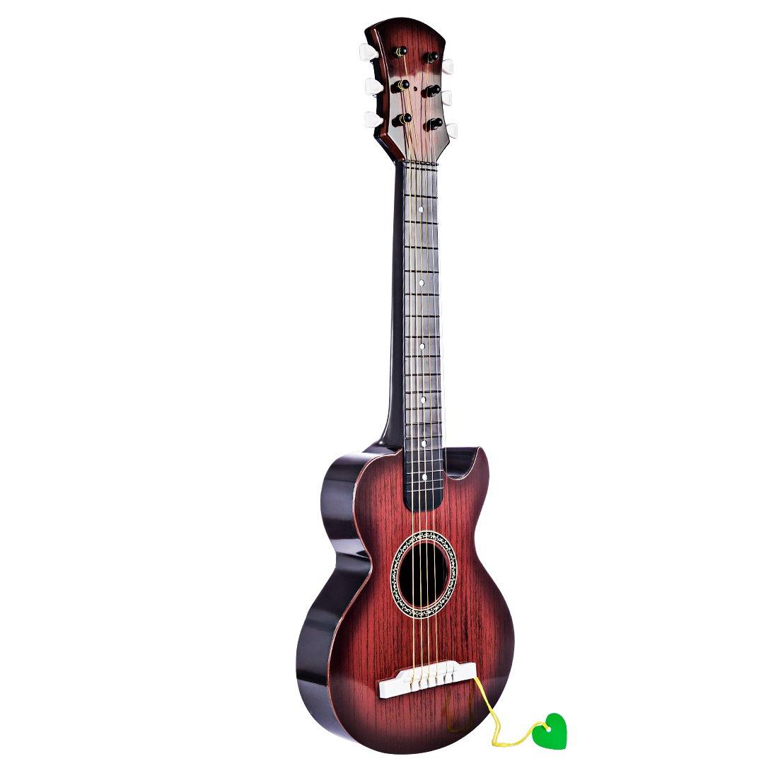 OviTop Guitare Enfant 6 Cordes Métallique Réelles Instrument de Musique Cadeau Idéal Offert à Enfants Débutant pour Anniversaire, Noël, Fête
