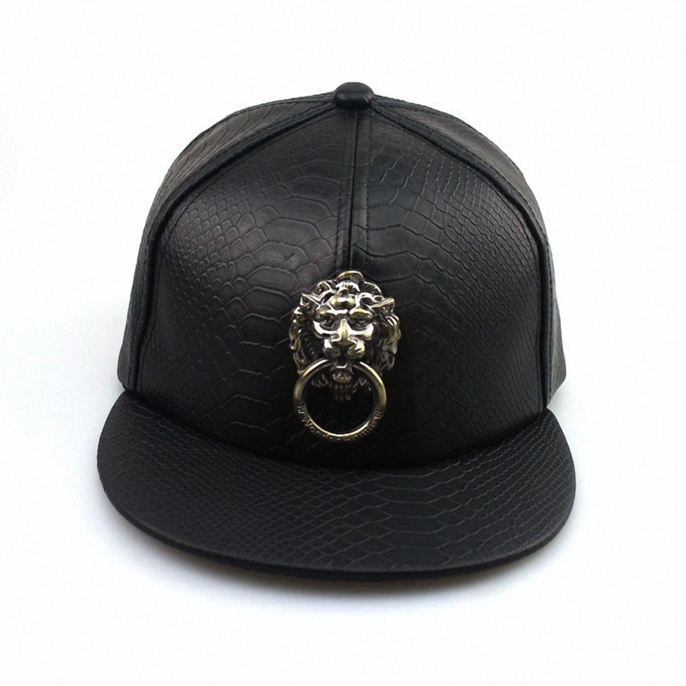 online retailer 5b1c6 dacad Amazon.com  Unisex Leather Lion Head Metal Badges Baseball Cap Adjustable  Flat Bill Snapback Hat Sport Hat Sun Hat (Black)  Clothing