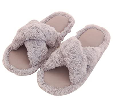 7b63b02e6 Amazon.com | Cattior Mens Comfy Furry Slippers Indoor House Slippers Shoes  Open Toe | Slippers