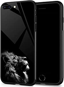 iPhone 8 Plus Cases for Boys Mens, Lions looking up at the night sky Tempered Glass iPhone 7 Plus Case Pattern Mobile Phone Shell Black Cover Case for iPhone 7/8 Plus Lions looking up at sky