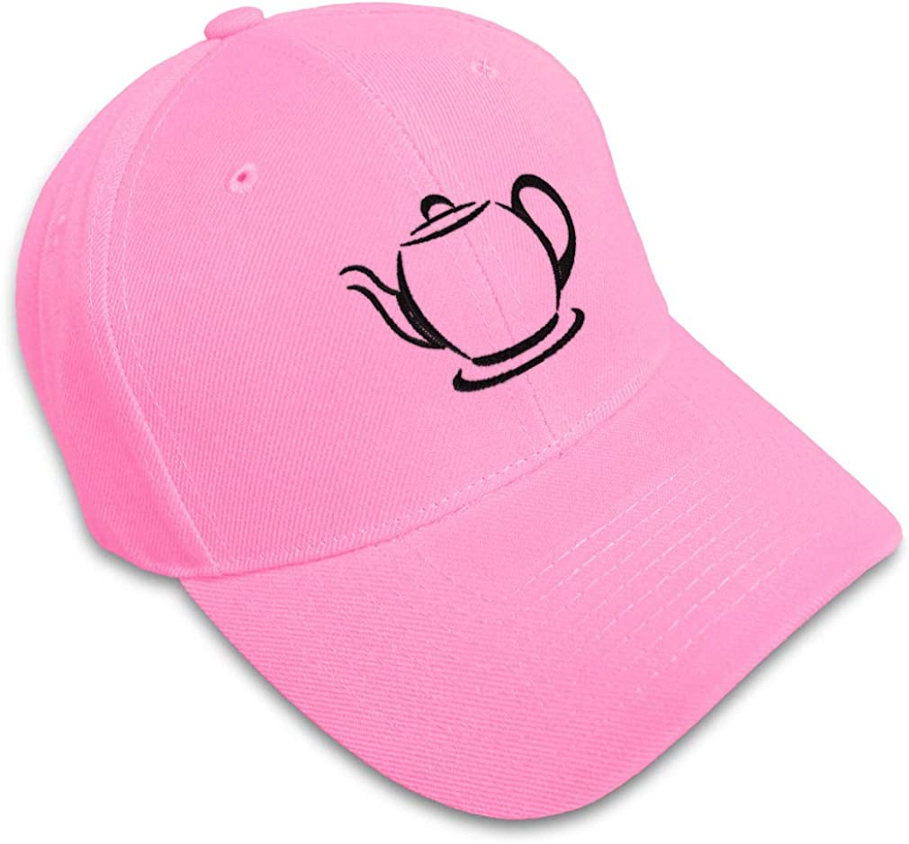 Custom Baseball Cap Teapot Outline Embroidery Acrylic Dad Hats for Men /& Women