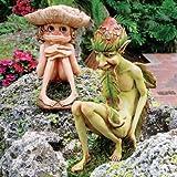 Garden Gnome Statue - Svenska & Theodor the Garden Trolls - Lawn Gnome