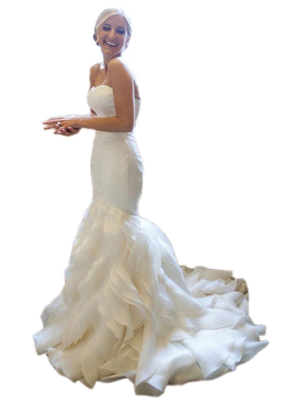 Ikerenwedding Women's Sweetheart Organza Ruffles Mermaid Wedding Dress Train