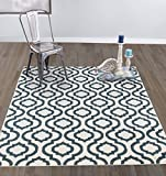 Cheap Diagona Designs Contemporary Geometric Moroccan Trellis Design 5′ X 7′ Area Rug, 63″ W x 87″ L, Ivory/Teal (JAS2032T)