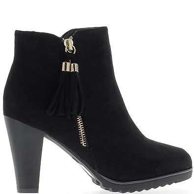 Tief schwarze Stiefel bis 8,5 cm Aspekt Wildleder Ferse 41