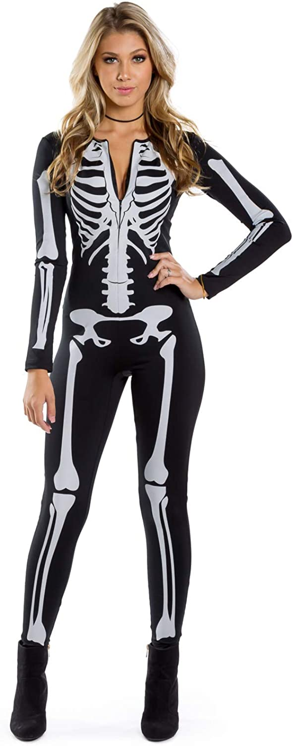 Tipsy Elves Women's Skeleton Halloween Costume Bodysuit with Back Printing - Sexy Skeleton Costume Jumpsuit Female