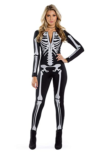 Tipsy Elves Women\u0027s Skeleton Halloween Costume Bodysuit with Back Printing  , Sexy Skeleton Costume Jumpsuit Female
