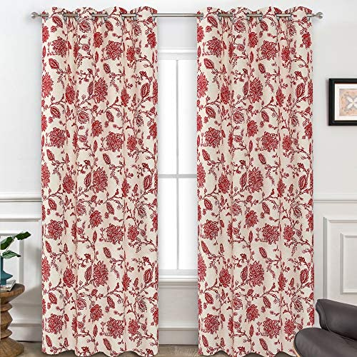 DriftAway Freda Jacobean Floral Linen Blend Lined Thermal Insulated Room Darkening Blackout Grommet Window Curtains 2 Layers 2 Panels Each 52 Inch