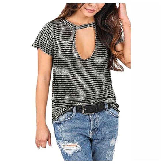 Camisa de verano para mujer, cuello de pico de inyección de tinta, manga corta, blusa de rayas casual: Amazon.es: Juguetes y juegos