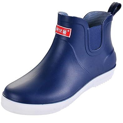 SUADEEX Uomo Stivali in Gomma Pioggia Scarpe da Giardino Impermeabili  Stivaletti Antiscivolo Rain Boot Unisex ec103751b96