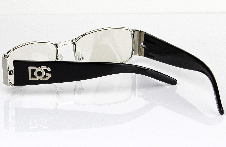 3b4d8d01dfb4 Amazon.com  Men Women DG Clear Lens Designer Rectangular Eyeglasses Retro  Fashion Nerd Frame  Clothing