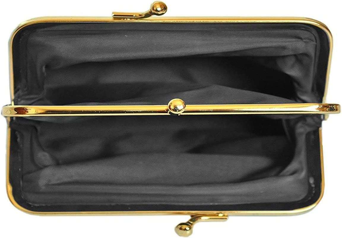 LIVAN Chocolat Grande Porte Monnaie r/étro /à Fermoir clic clac pour Femme en Cuir Neuf L0025