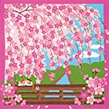 Furoshiki Cat on Bridge with Cherry Blossoms Motif Japanese Fabric 50cm