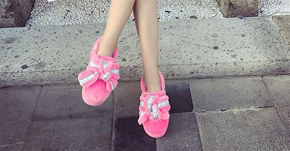 Ladies Girls Cute Winter Soft Cozy Booties Non-Slip Plush Mules Home Bedroom Slip-On Shoes Ankle
